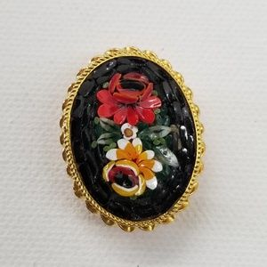 Vintage Gold Tone Floral Brooch Made in Italy